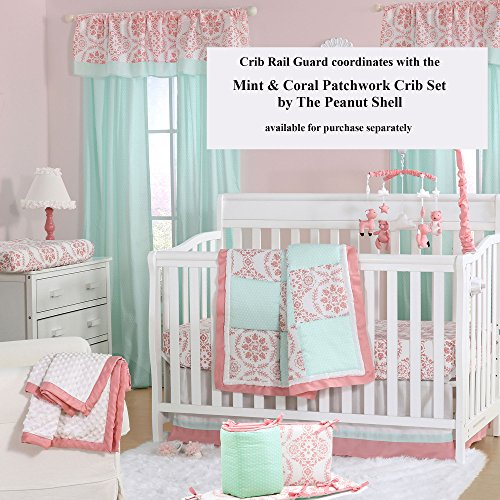 Coral Pink Medallion 100% Cotton Padded Crib Rail Guard by The Peanut Shell by The Peanut Shell (Image #4)