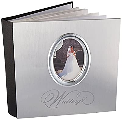 MBI 8x8 Inch Wedding Photo Album with Photo Opening Front, Silver (850014)