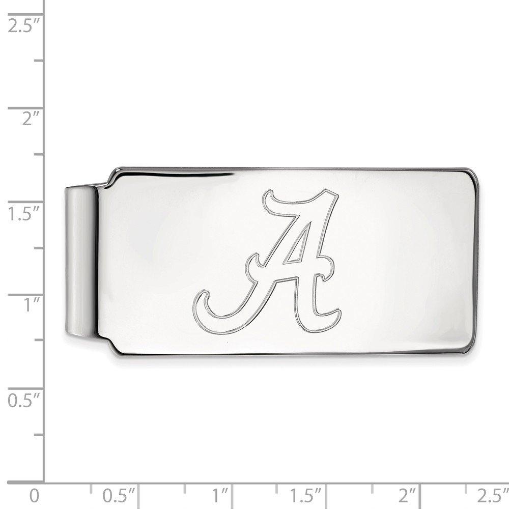 55mm x 26mm Jewel Tie 10k White Gold Big Heavy University of Alabama Money Clip