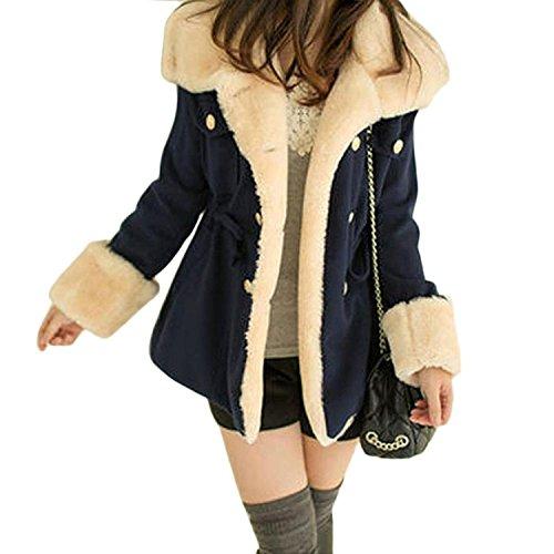 - Sunfei Winter Fashion Warm Double-Breasted Wool Blend Jacket Women Coat (M, Navy Blue)