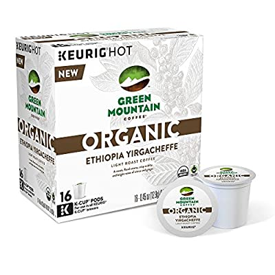 Green Mountain Organic Ethiopia Yirgacheffe (16 K-Cup Pods) for Keurig Brewers