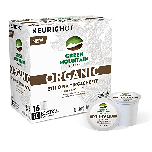 Green Mountain Coffee Organic Ethiopia Yirgacheffe Keurig K-Cups, 16 Depend on