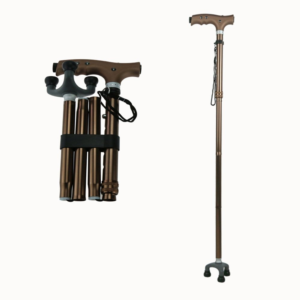 Folding Cane Quad Walking Cane for Men Women Collapsible Lightweight Adjustable Portable Walking Stick Mobility Aid Sleek Look Comfortable Handles Aluminum Alloy Foldable Cane with LED Light T Handle