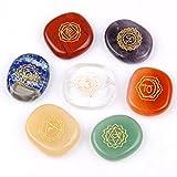 Chakra Stones-Reiki Healing Crystal With Engraved Chakra Symbols Holistic Balancing Polished Palm Stones Set of 7 by JD.Gems
