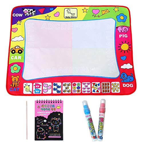 Water Doodle Mat Large Size 32 X 24 Inch Aqua Water Drawing Mat Pad with 2 Magic Pens and 10 Sheets of Scratch Paper, Kids Educational Travel Toy Gift for Girls Boys Toddlers