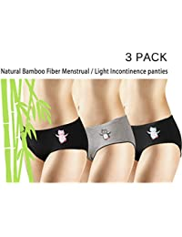 New 3 Pack Natural Bamboo Skin-Friendly Absorbent Menstrual Period Panty Incontinence - Owl