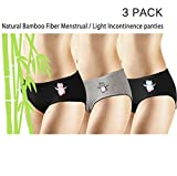 New 3 Pack Natural Bamboo Skin-Friendly Absorbent Menstrual Period Panty Incontinence - Owl (Medium)