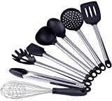Silicone Kitchen Utensils Set-Wifond 8 Piece Cooking Utensils with Stainless Steel Handle-Heat Resistant Non-stick for Home Cooking Baking