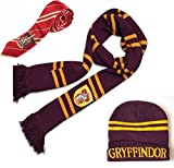 Hot Collection 2016 - HARRY POTTER Gryffindor Scarf+Cap/Hat+NECKTIE Soft Warm Costume Christmas gift Gryffindor Scarf+Cap+Tie