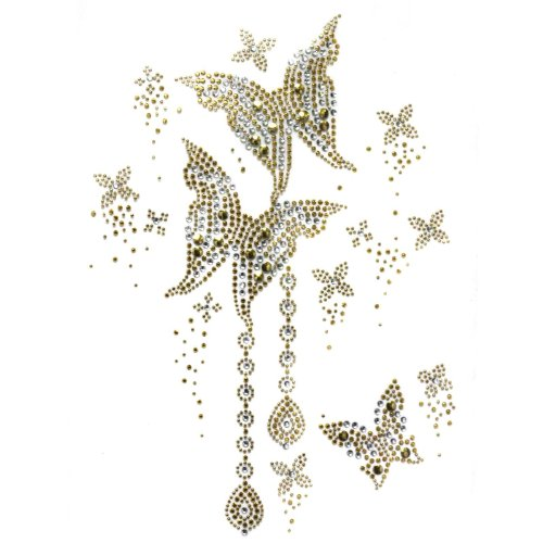 Rhinestone Transfer Hot Fix T-shirt Clothing Crafts Fashion with Gold Butterfly Crystal Design 1 Sheets 8.2* 11.8 Inch