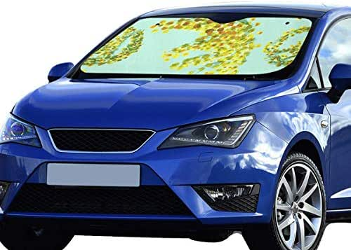 LWZHG Funny Car Windshield Sunshade Mimosa Set Flower Yellow 55x30 Inch Anti-uv Coating Protect Seats Foldable Polyester and Aluminized Film Small Car Windshield Sun Shade