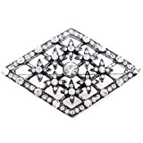 Brooches Store Vintage Style Diamond Shaped Crystal and Antique Silver Brooch