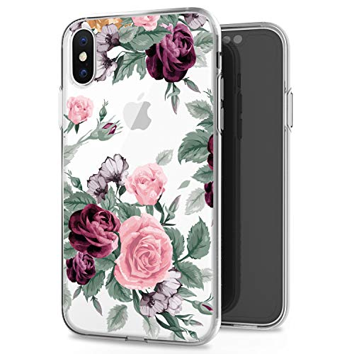JAHOLAN Pink Purple Rose Cute Girls Floral Design Clear TPU Soft Slim Flexible Silicone Cover Phone Case for iPhone Xs Max 2018 6.5 inch