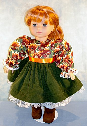18 Inch Doll Clothes - Turkeys on Green Thanksgiving Dress handmade by Jane Ellen to fit 18 inch dolls