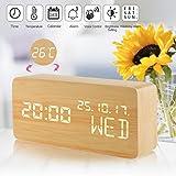 Alarm Clock,Wood Alarm Clock Voice Control Electric Smart LED Travel Alarm Clock Modern Cube 3 Levels Brightness 3 Alarms Digital Alarm Clock Display Time Date Week Temperature for Bedroom Office Home