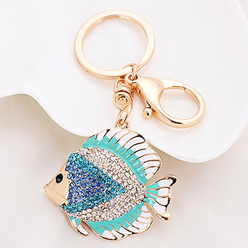 Cute Kawaii Rhinestone Tropical Marine Fish Shape Auto Key Ring Hooks Keychain for Women Purse Bag Charms Ornaments (Blue) (Tropical Fish Keychain)