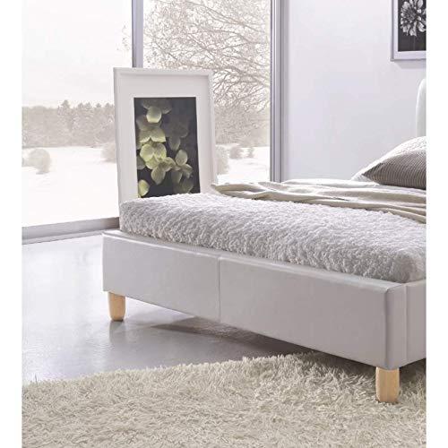 PRICE FACTORY just for you Lit Sylvie 180x200 cm en Simili Cuir Coloris Blanc sommier Inclus