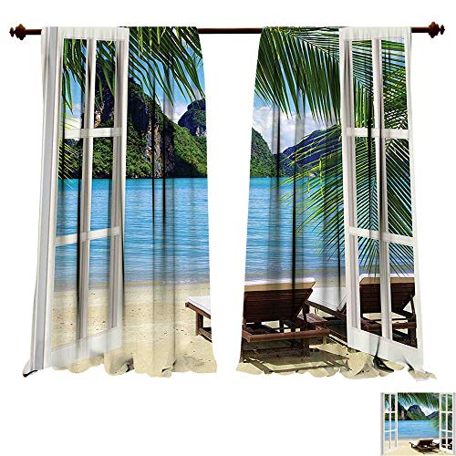 Blackout Living Room/Bedroom Window Curtains Beach Palm Trees in Ocean Heaven Sunbeds Balcony White Wooden Windows Summer Tropical Blue Green White Blackout 2 Panels (W72 x L96 -Inch 2 Panels) ()