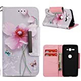 Leather Wallet Case for Sony Xperia XZ2 Compact,Shinyzone Colorful Flower Painted Pattern Flip Stand Case,Wristlet & Metal Magnetic Closure Protective Cover