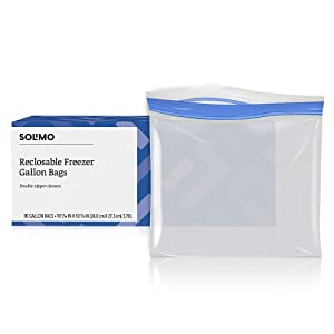 Amazon Brand - Solimo Freezer Gallon Bags, 90 Count