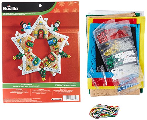 - Bucilla Felt Applique Wreath Kit, 17-Inch Round, 86677 Gingerbread