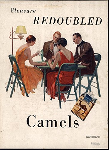 Pleasure Redoubled Camel Cigarettes Cards 1929 vintage color advertisement print