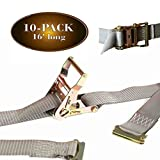 10 E Track Ratchet Tie-Down Cargo Straps, 2'' x 16' Durable Ratcheting Strap Cargo TieDowns, Heavy Duty Grey Polyester Tie-Downs, ETrack Spring Fittings