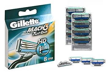 Gillette Mach3 Turbo HD 8-Pack Razor Blades Cuchillas 100% ORIGINAL: Amazon.es: Hogar