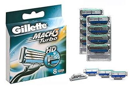 Gillette Mach3 Turbo HD 8-Pack Razor Blades Cuchillas 100% ORIGINAL