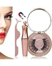 Magnetische Eyeliner, Lyeiaa Magnetic Eyeliner mit Magnetische Wimpern Set, Wiederverwendbar & Wasserdicht False Eyelashes, Natural Look, Gespiegelte Box + Pinzette