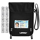Neck Wallet Travel RFID Blocking Passport Holder Neck Pouch Hidden Security Stash for Men Women Kids, Money Document Phone Credit Card Holder, 10 Credit Card Sleeves Bonus (Black)