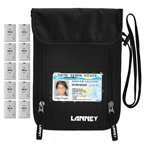 Neck Wallet Travel RFID Blocking Passport Holder Neck Pouch Hidden Security Stash for Men Women Kids, Money Document Phone Credit Card Holder, 10 Credit Card Sleeves Bonus (Black)