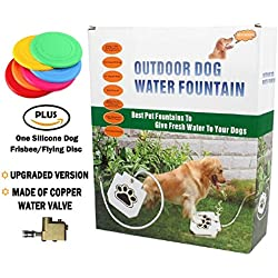 """Dog Fountain - [UPGRADED VERSION] Outdoor Dog Water Fountain Pet Step-on Drinking Training Tool for Dogs, Durable and NO LEAKAGE - With 41"""" Hose"""