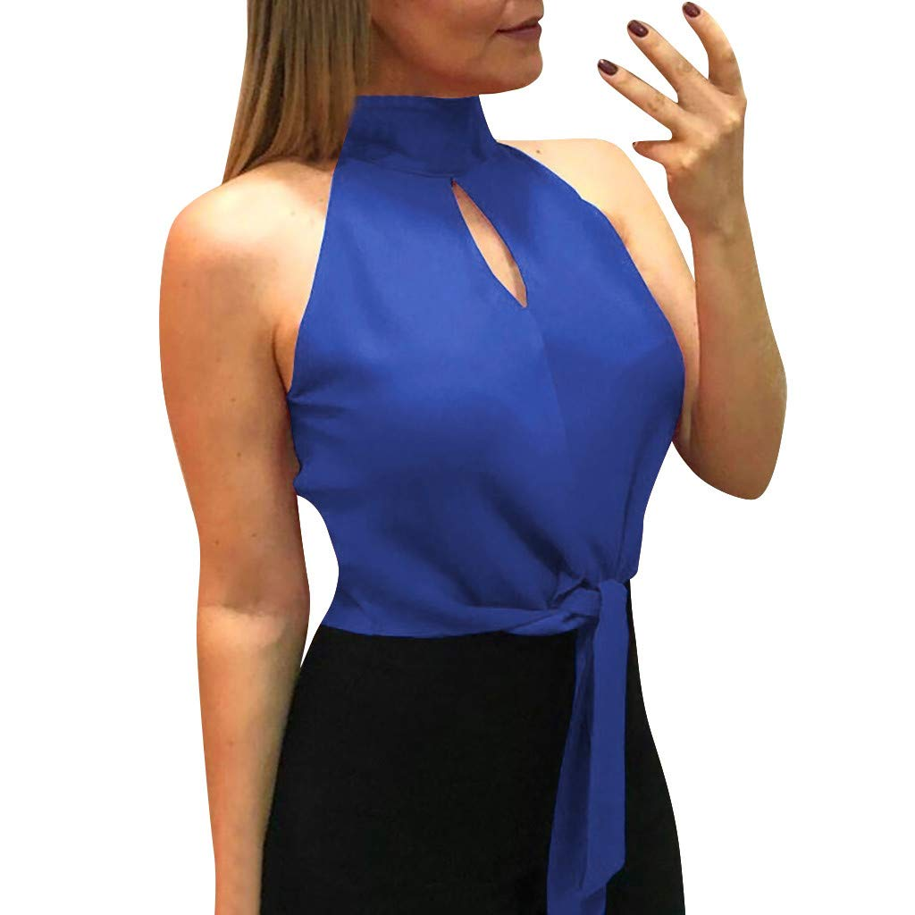 Women Tops Pure Color Hollow Out Tank Sleeveless Halter Blouse Vest Blue