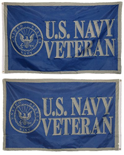 AES 3x5 US Navy USN Veteran Vet 2 Faced Double Sided 2-ply Polyester Flag Fade Resistant Double Stitched Premium Penant House Banner Grommets