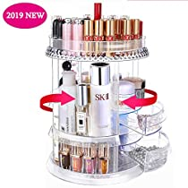 Makeup Organizer with Drawer, FUNCUBE 360 Rotating Cosmetic Storage Box, Adjustable Multifunction Large Capacity Acrylic Cosmetics Display Case Makeup Shelf with Diamond PatternBest Girls Womens Gift