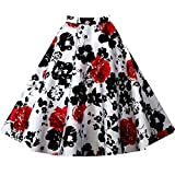 LECIMO Women's Vintage High Waist Pleated Swing A Line Midi Skirt