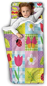 Ladybugs Daycare Sleeping Bag Spring Flowers Butterflies for Daycare and Preschool 43X21 INCH