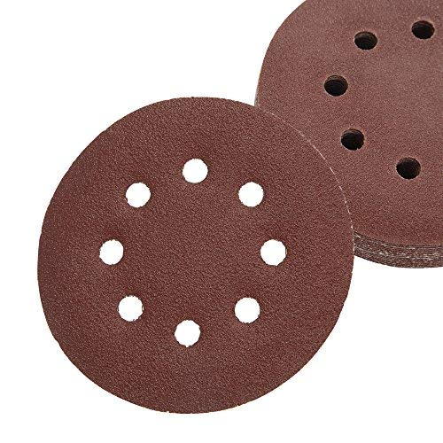 100 Pack Assorted Sanding Discs, 5 Inch Hook and Loop Round Sandpaper Discs, Dustless 8 Hole Sand Paper, Assorted Pack Includes 20 Discs Each of 60 Grit, 80 Grit, 120 Grit, 180 Grit, and 220 Grit by Sierra Sky Abrasives