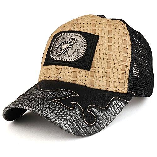 Trendy Apparel Shop Straw Design Metallic Scorpion Logo Trucker Mesh Adjustable Baseball Cap