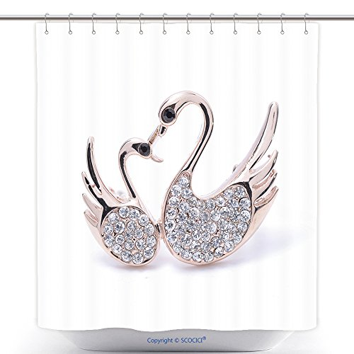 Stylish Shower Curtains Brooch Two Swans Isolated On White 325815107 Polyester Bathroom Shower Curtain Set With Hooks
