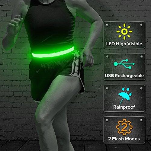 B Seen - Cinturón de Running LED, Recargable por USB, Reflectante, Brillante, para Corredores, Corredores, Caminantes, dueños de Mascotas, Ciclistas, Verde, One Size Fit All