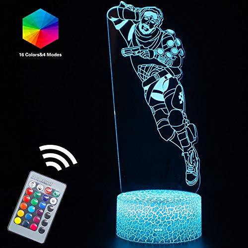 Apex Lamps 3D Optical Illusion LED Night Lights Lamp Remote Controlled USB or Batteries Powered with 16 Colors Changing, Cool Gift Bday Party Gifts Desk Table Lamps(Mirage(Remote))