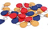 Anynfc Ntag213 RFID 13.56MHZ IC Card Tag Token Keyfob Keytag Keychain ISO14443A (Color Red, Yellow, Blue - Pack of 30pcs)
