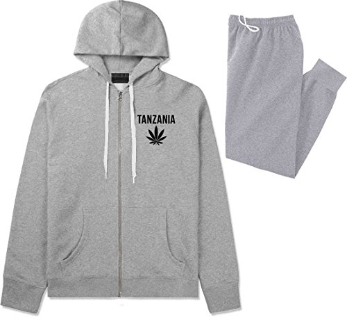 Country of Tanzania Weed Leaf Pot Marijuana Sweat Suit Hoodie Sweatpants XX-Large (Tanzania Sweater)