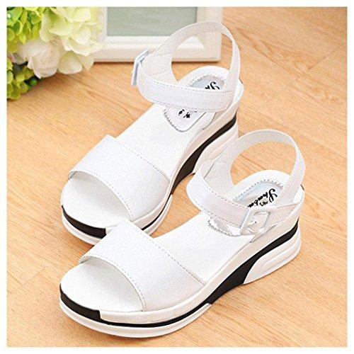 Summer Sandals, Inkach Womens Summer Sandals Peep-toe Low Shoes Roman Sandals Ladies Flip Flops White
