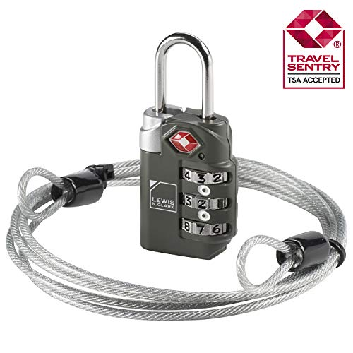 TSA-Accepted Luggage Locks with TravelSentry: 3-Dial Combination Lock + 48in Coated Steel Cable, the Smartest Safety Lock on the Market - -