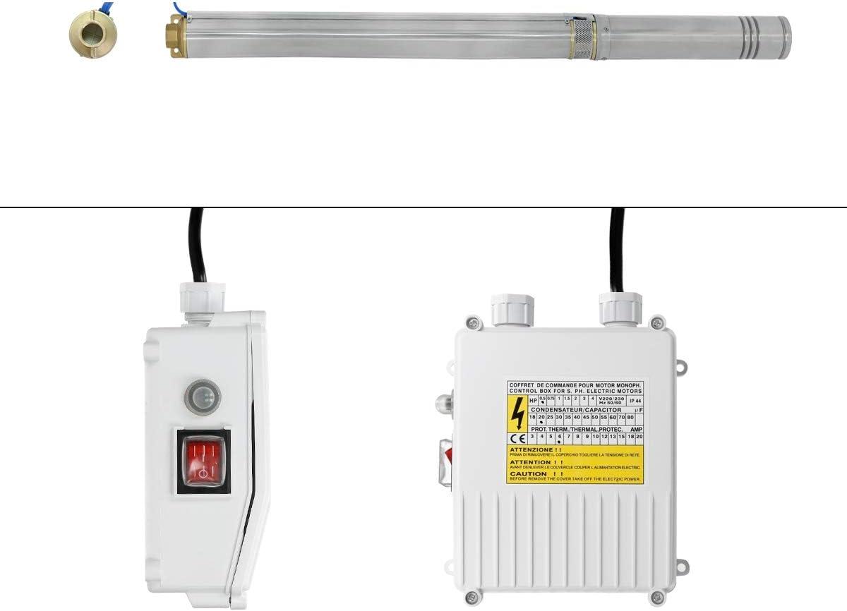 Avec C/âble de 20 m Protection IP44 D/ébit 4000 l//h Pression 3,4 bar Antirouille Puissance 370W ECD Germany 4 Pompe pour Puits Profonds 230V Pompe Submersible /à Eau pour Puits ou Forage