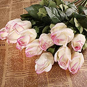 10pcs 11pcs/Lot Rose Artificial Flowers Real Touch Rose Flowers for New Year Home Wedding Decoration Party Birthday Gift,B Light Purple 2,11pcs 103