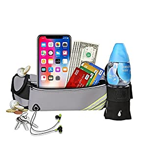 Fadri Running Belt Waist Pack - Water Resistant Runners Belt Fanny Pack for Hiking Fitness Adjustable Running Pouch for Apple iPhone X 8 7 7+ Samsung Note Galaxy in Running Walking Cycling Gym (Gray)